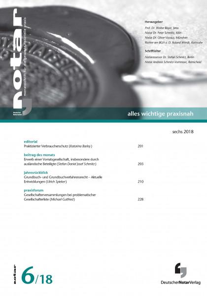 notar - monatsschrift für die gesamte notarielle praxis