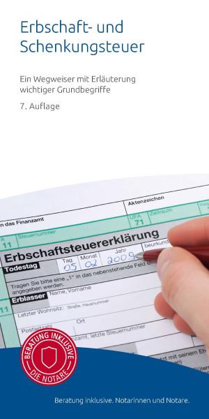 """Infobroschüre """"Erbschaft- und Schenkungsteuer"""" (50er Pack)"""